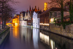 Night tower Belfort and the Green canal in Brug Stock Photography