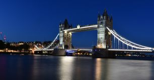 A night With Tower Bridge London. Tower Bridge in London, the UK. Sunset with beautiful clouds. Drawbridge opening. One of English symbols stock photos