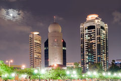 Night of the tower in Dubai on the background of the Moon, Dubai Royalty Free Stock Images