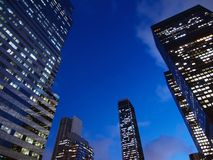 Night Towers. Highrise office towers in early evening light Royalty Free Stock Photos