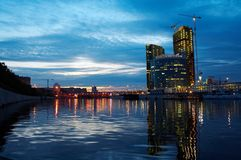 Night town. Night Moscow, river near business center Royalty Free Stock Photos