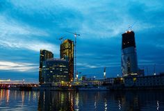 Night town. Construction of Moscow business center, evening photo Royalty Free Stock Photos