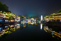 Night in the town Fenghuang Royalty Free Stock Photography