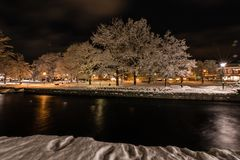 Night in the town of Filipstad, Sweden december, 2017. Night in the town of Filipstad in Sweden Royalty Free Stock Photos