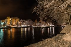 Night in the town of Filipstad, Sweden december, 2017. Night in the town of Filipstad in Sweden Royalty Free Stock Image