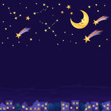 Night on the town. Stary sky over the residential area drawn with transparent watercolor paint Royalty Free Stock Image