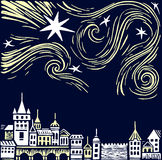 Night town vector illustration. With bright stars Royalty Free Stock Images