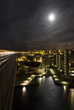 Night town. View from Bridge into town at night, Stavanger, Norway Royalty Free Stock Photography