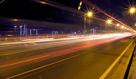 Night traffic. On the bridge Royalty Free Stock Photos