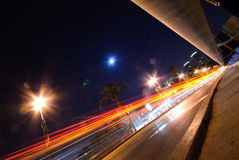 Night traffic. On  a suspension bridge Stock Image