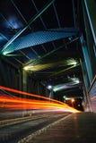 Night traffic. On  a suspension bridge Stock Photos