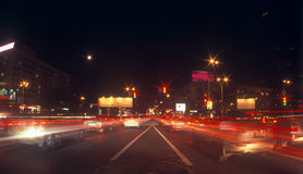 Night traffic. Long exposure of night traffic in Kyiv, Ukraine Stock Image