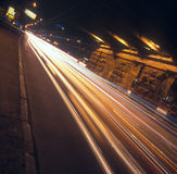 Night traffic. Long exposure of night traffic in Kyiv, Ukraine Stock Photos