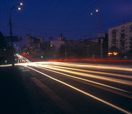Night traffic. Long exposure of night traffic in Kyiv, Ukraine. Please see some similar images in my portfolio Royalty Free Stock Image