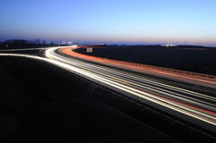 Night traffic. On the highway Royalty Free Stock Image