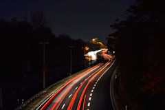 Night traffic. On the highway in Magdeburg Stock Photos