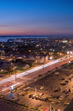 Night Traffic. Night scene of Ocean City, Maryland and bay stock photography