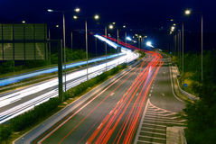 Night traffic. Long exposure of european highway at night Stock Image