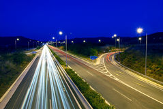 Night traffic. Long exposure of european highway at night Stock Photo