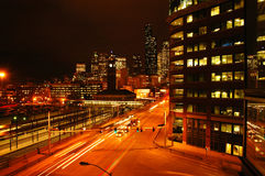 Night Traffic. In downtown seattle with a view on King Station Stock Photo