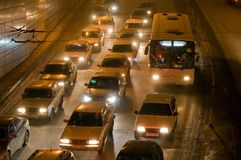 Night traffic. Night jam on the urban highway Stock Photography