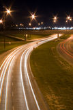 Night Traffic. Traffic blurs on a busy highway, shot at night Royalty Free Stock Photos