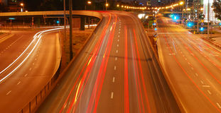Night traffic. Traffic by night in Warsaw Royalty Free Stock Photo