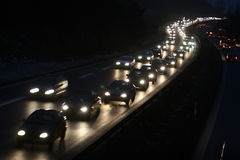 Night traffic. On motorway  in denmark shot from above (a bridge) with low shutter speed Royalty Free Stock Images
