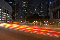 Night Traffic. Traffic in the commercial district (Central, Hong Kong) by night royalty free stock photo