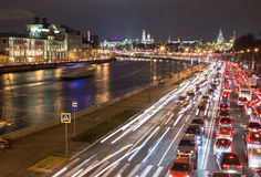 Night traffic along a city river in Moscow Royalty Free Stock Photography