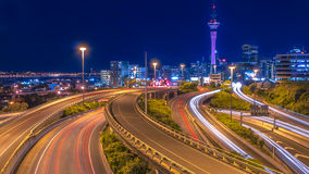 Night traffic in Auckland city centre Royalty Free Stock Photos