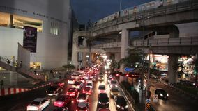 Night traffic in Bangkok stock video footage