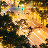 Night traffic in Barcelona Royalty Free Stock Images