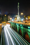 Night traffic. Barcelona. Royalty Free Stock Photo