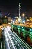 Night traffic. Barcelona. royalty free stock photo