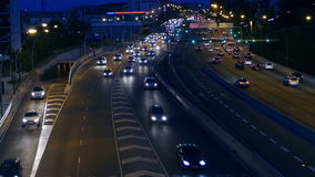 Night Traffic in Barcelona. Time Lapse. Traffic at dusk in a main street of entry and exit of Barcelona. Top view. Time Lapse stock footage