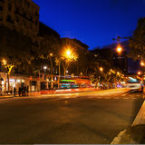 Night traffic in Barcelona Royalty Free Stock Photos