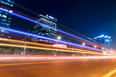 Night traffic in beijing. Night traffic with modern building background in beijing,China stock photography