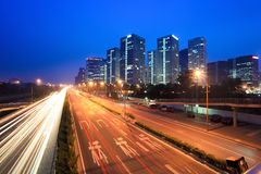 Night traffic in beijing. Night traffic with modern cityscape in beijing,China stock images