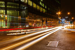 Night traffic on the Bishopsgate road in the City of London Stock Image