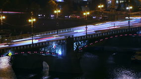 Night Traffic on the Bridge stock footage