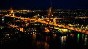 Night traffic at a bridge over the Chaophraya River stock video footage