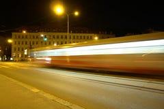 Night Traffic in Brno, Czech. Tram at night in Brno Stock Image