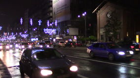 Night traffic. In Bucharest in December stock video