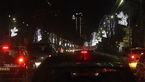 Night traffic in Bucharest during the holidays stock video footage