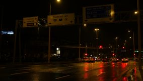 Night Traffic Budapest. Night traffic on the streets of Budapest on rainy and cold winter night stock footage
