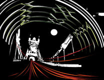 Night traffic on busy bridge. This is a vector illustration of night scene showing traffic lights across the road Royalty Free Stock Photography
