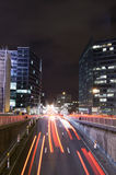 Night traffic and busy nightlife in Brussels Royalty Free Stock Photos