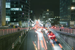 Night traffic and busy nightlife in Brussels Royalty Free Stock Images