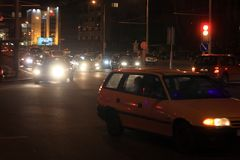 Night traffic. Car traffic at night in the big city royalty free stock photos